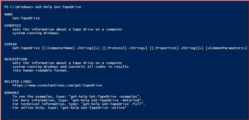 PowerShell Module SysInfo v1-1 - Get-Help - Get-TapeDrive