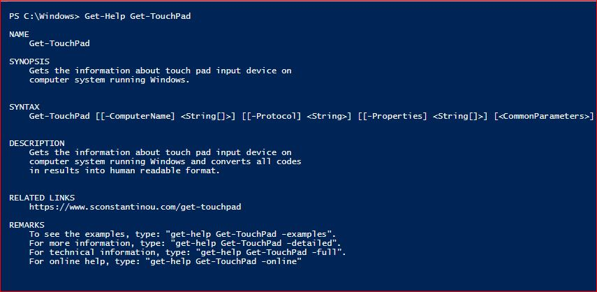 PowerShell Module SysInfo v1-1 - Get-Help - Get-TouchPad
