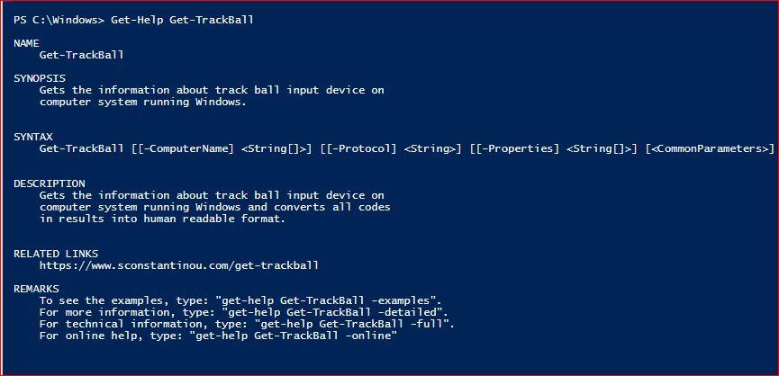 PowerShell Module SysInfo v1-1 - Get-Help - Get-TrackBall