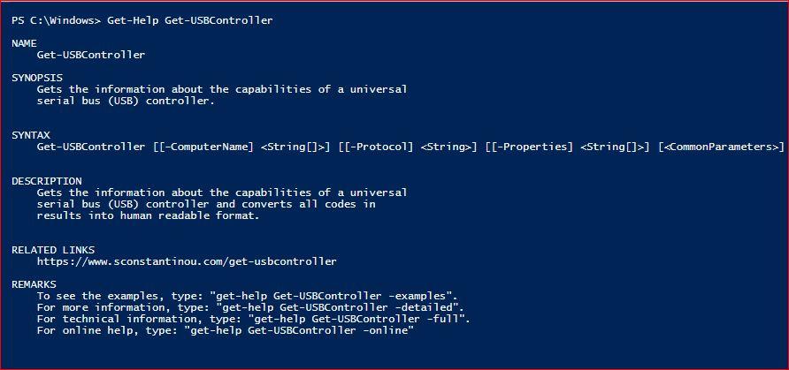 PowerShell Module SysInfo v1-1 - Get-Help - Get-USBController