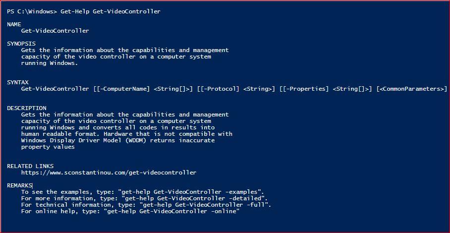 PowerShell Module SysInfo v1-1 - Get-Help - Get-VideoController