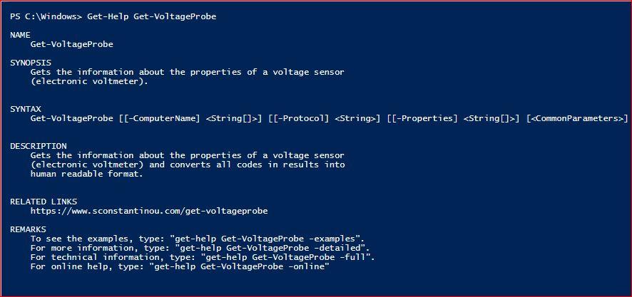PowerShell Module SysInfo v1-1 - Get-Help - Get-VoltageProbe